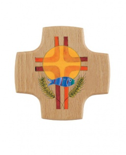 Wandkreuz Holzkreuz Buche Kruzifix Kreuz Hostie Fisch Ähren 8 x 8 cm Kommunion