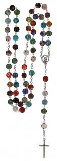 Rosenkranz Millefiori-Perlen bunt 49 cm Kruzifix gekettelt Metall schlicht