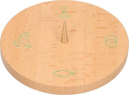 Kerzenhalter Christliche Symbole Kelch Ringe Fisch Taube 14 cm Buche Holz