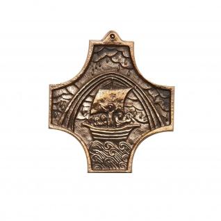 Wandkreuz Schiff Regenbogen Bronze 9 cm Kommunion Symbolkreuz