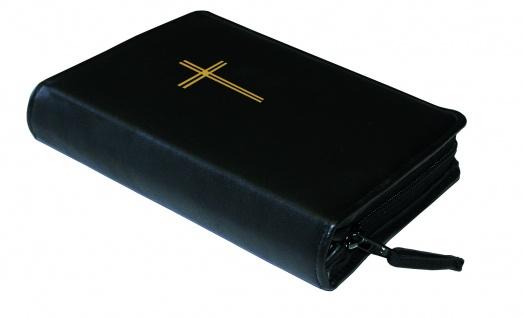 Gotteslobhülle Kreuz Gold Kunstleder Schwarz Gesangbuch Einband Katholisch