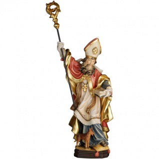 Heiliger Gottfried von Amiens mit Hund Holzfigur geschnitzt Südtirol Bischof