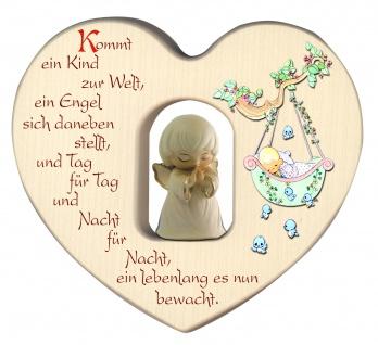 Herz mit Schutzengel weiß Segen Gebet Holz geschnitzt 12 cm Taufgeschenk