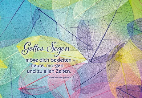 Grußkarte Segen Friedrich Morgenroth 6 St Kuvert Gott Begleitung Blätter-Motiv