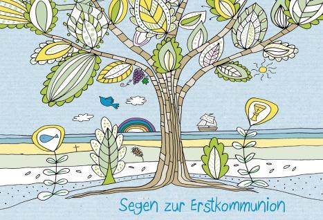 Glückwunschkarte Segen zur Erstkommunion (6 St) Lebensbaum Benedikt XVI.