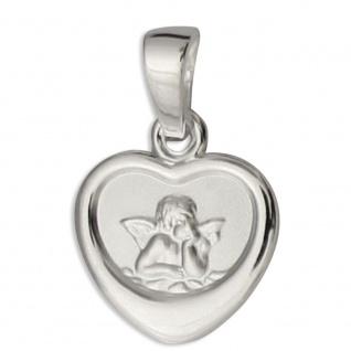 Herz Anhänger Schutzengel, 925 Sterlingsilber 1 cm Engel Schmuck