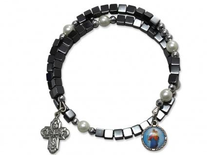 Armband Maria Jesukind Hämatit-Würfel Perlen Kreuz 6 cm Christlicher Armschmuck