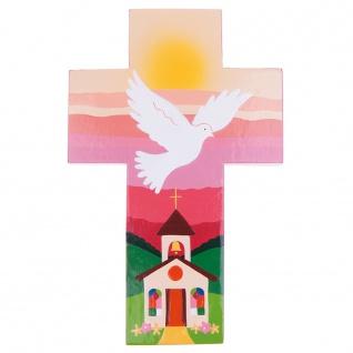 Kinderkreuz Heiliger Geist rosa Holz bemalt 14 cm Wandkreuz Holzkreuz Fair Trade