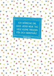 Postkarte Ich wünsche dir (10 St) Bunte Fähnchen Irmgard Erath Grußkarte