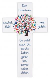 Kinderkreuz Der Lebensbaum wächst.. Buchenholz weiß 15 cm 20 cm Wandkreuz modern