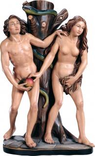 Heiliger Adam und Eva (Gruppe) Holzfigur geschnitzt Südtirol Schutzpatron