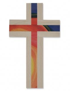Wandkreuz Naturholz Holz Kreuz bunt 20 x 12 cm Kinderkreuz modern dekorativ