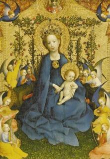 Klappkarte Die Muttergottes in der Rosenlaube (6 St) Grußkarte farbiges Kuvert