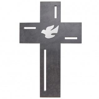 Wandkreuz Taube Schiefer Edelstahl-Auflage Kreuz 23 cm Kruzifix Christlich