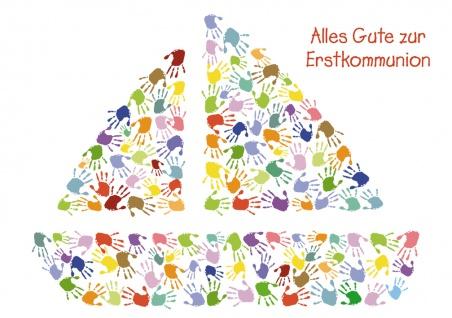 Glückwunschkarte Alles Gute zur Erstkommunion (6 St) Schiff aus bunten Händen