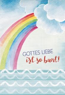 Glückwunschkarte zur Erstkommunion Gottes Liebe ist so bunt! (6 St) Regenbogen