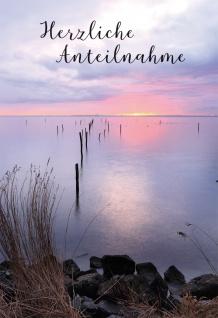 Trauerkarte Anteilnahme 6 St Kuvert Sonnenuntergang Beistand Erinnerung Licht
