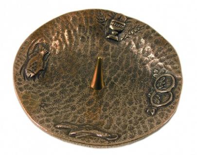 Kerzenleuchter 4 christliche Symbole Ø 11 cm Bronze