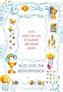Glückwunschkarte Alles Gute zur Erstkommunion mit Bibelwort und Kuvert 6 Stk