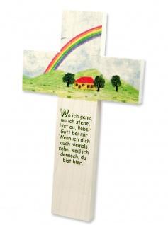 Kinderkreuz Regenbogen Buche Holz 15 x9 cm Wandkreuz Wo ich gehe wo ich stehe..
