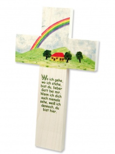 Kreuz für Kinder Lieber Gott 15 cm Kruzifix Holz-Kreuz Wandkreuz