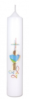 Erstkommunionkerze Kelch Fische Kreuz 26, 5 cm Kerze zur Kommunion