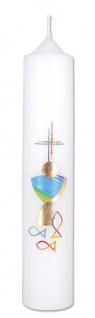 Kommunionkerze Kelch Fische Kreuz 26, 5 cm Erstkommunion Kerze zur Kommunion - Vorschau