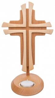 Stehkreuz Holz 2-farbig Buchenholz Ahorn 24 cm mit Teelichthalter Handarbeit