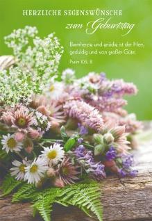 Glückwunschkarte Herzliche Segenswünsche zum Geburtstag (6 St) Blumenstrauß