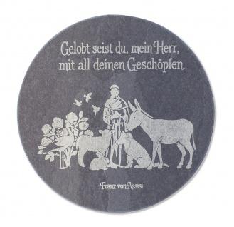 Wandrelief Franz von Assisi Schiefertafel gelasert 10 cm Wandbild Deko