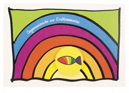 Glückwunschkarte mit Radiergummi Segenswünsche zur Kommunion (5 St) Regenbogen