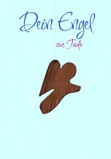 Taufkarte Holz-Engel Engel zur Taufe (5 Stck) Bibelwort Glückwunschkarten Set
