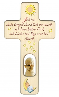 Kreuz für Kinder Schutzengel Gute Nacht Gebet 20 cm Kruzifix Holz-Kreuz