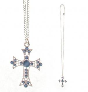 Kreuz-Anhänger mit blauen Glassteinen Kette 31 cm