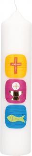 Kommunionkerze Kreuz, Kelch und Fisch in Gold 26, 5 cm Kommunion Kerze