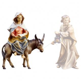 Heilige Maria auf Esel Holzfigur geschnitzt Südtirol Krippenfigur Ulrich Krippe