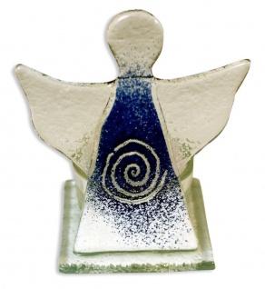 Teelichthalter Schutzengel Spirale Blau 10 cm Kerzenhalter Kerzenständer