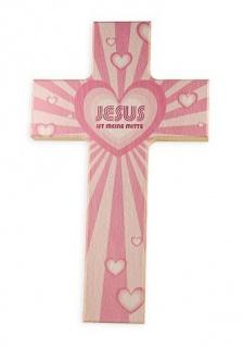 Kinderkreuz Jesus ist meine Mitte Buche 15 cm 20cm Wandkreuz Holzkreuz Herz rosa
