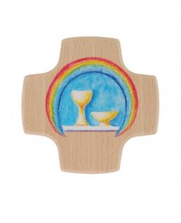 Kreuz für Kinder Regenbogen 8 cm Kommunion Kruzifix Holz Wandkreuz