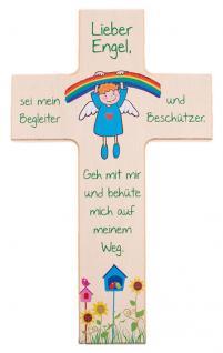 Kinderkreuz Regenbogen Engel sei mein Begleiter.. Buchenholz 15cm 20cm Wandkreuz