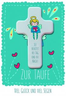 Taufkarte Zur Taufe viel Glück viel Segen Holzkreuz Set Glückwunschkarte Kuvert