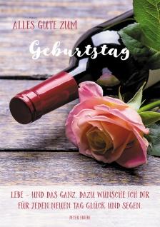 Postkarte Geburtstag Rose Wein-Flasche 10 St Adressfeld Segen Glück Genuss