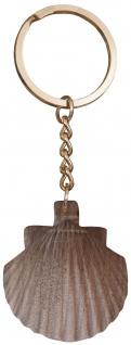 Schlüsselanhänger Jakobsweg Pilger Muschel Nussbaum dunkel 10, 5 cm