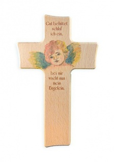 Kinderkreuz Gut behütet Buche bemalt bedruckt15 cm Wandkreuz Holz Kreuz Gebet