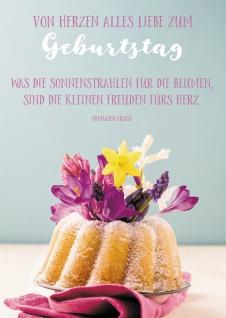 Postkarte Geburtstag Kuchen Blumen 10 St Herz Freude Sonne Lebensfreude