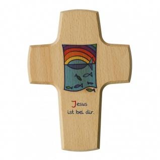 Kinderkreuz Jesus ist bei dir Fische Regenbogen 15 cm Wandkreuz Holzkreuz
