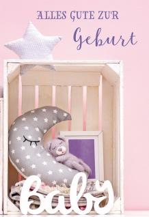 Glückwunschkarte Geburt Mond Stern 6 St Kuvert Baby Liebe Freude Teddybär Platz