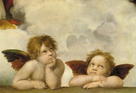 Klappkarte Zwei Engel (6 St) Detail aus Die Sixtinische Madonna von Raffael