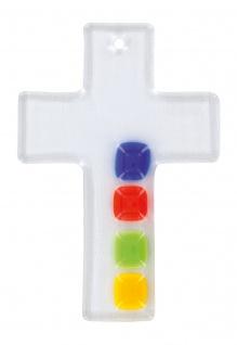 Kreuz aus Glas farbige Quadrate Fusing Kreuz Handarbeit 10 cm Wandkreuz Unikat