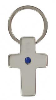 Schlüsselanhänger Kreuz mit blauem Steinchen Christlich